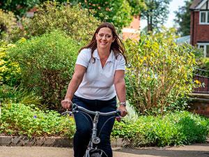 Ingrid on a bike
