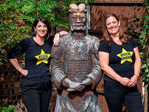 Lesley and Ingrid with Terry the Terracotta Warrior